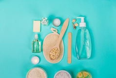 Natural domestic products for skincare. Oat, oil, soap, facial cleanser. Stock Photography