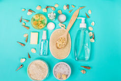 Natural domestic products for skincare. Oat, oil, soap, facial cleanser. Royalty Free Stock Image