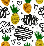 Natural drawn pattern with pineapples. Floral decorative pattern in scandinavian style. Vector summer texture.  royalty free illustration