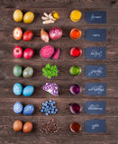 Natural dyed easter eggs Stock Images