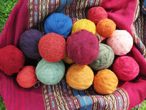 Natural dyed wool yarn in the peruvian Andes at Cuzco stock images
