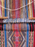Natural dyed wool yarn in the peruvian Andes at Cuzco. Peru royalty free stock photo