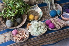 Natural dyes for coloring cloth royalty free stock photography