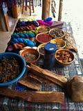 Natural dyes and hand spun yarn Stock Image