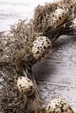 Natural Easter decorations, decoration with quail eggs. royalty free stock photo