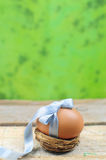 Natural easter egg with blue ribbon in nest Royalty Free Stock Photography