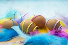 Natural easter eggs with colorful confetti stock photo