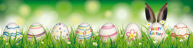 Natural Easter Eggs Happy Easter Rabbit Ears Header. White flowers in grass with colored easter eggs on the bokeh background Stock Images