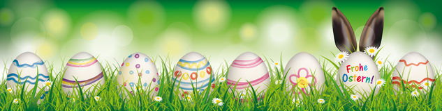 Natural Easter Eggs Ostern Rabbit Ears Header. German text Frohe Ostern, translate Happy Easter Royalty Free Stock Photos