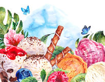 Natural eco food background with balls of ice cream Royalty Free Stock Images