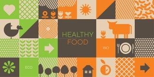 Natural eco food icons in grid order. Natural eco food icons in grid system for background, packing, header. Stock vector illustration stock illustration