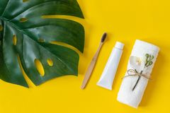 Natural eco-friendly bamboo brush, white towel, tube of toothpaste and tropical eaf monstera. Set for washing on paper. Natural eco-friendly bamboo brush, white stock photos
