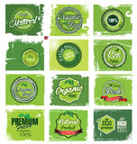 Natural eco green label collection Royalty Free Stock Photo