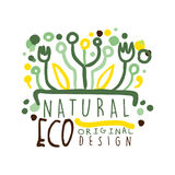 Natural Eco label, logo graphic template. Healthy lifestyle, handmade products, organic food menu hand drawn vector Stock Photo