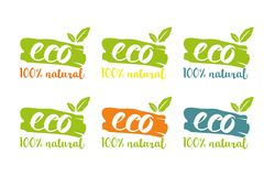 100% natural eco logo set in different colors with herbal leaves royalty free illustration