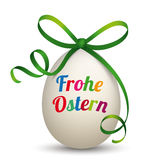 Natural Egg Green Ribbon Frohe Ostern Royalty Free Stock Images