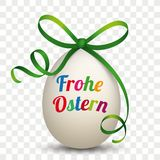 Natural Egg Green Ribbon Frohe Ostern Transparent royalty free illustration