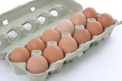 Natural Eggs. A dozen Eggs, fresh from happy chickens Stock Photo