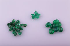 Natural emerald. Different shapes in the collection Stock Photography