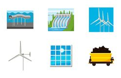 Natural energy icon set, cartoon style. Natural energy icon set. Cartoon set of natural energy vector icons for web design isolated on white background Royalty Free Stock Images