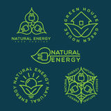 Natural energy logo. Set of natural energy logo templates design in outline style. Vector illustration Royalty Free Stock Photo