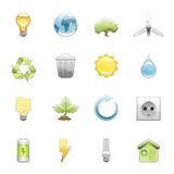 Natural energy and recycling icon set Stock Images
