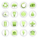 Natural energy and recycling icon set Stock Photos