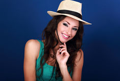 Natural expression smiling beautiful woman in straw summer hat w Royalty Free Stock Images
