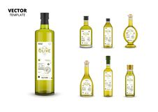 Natural extra virgin olive oil glass bottles. Natural extra virgin olive oil realistic glass bottles with labels. Layout of food identity branding, modern royalty free illustration