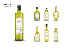 Natural extra virgin olive oil glass bottles stock photography