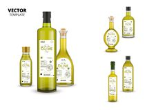 Natural extra virgin olive oil glass bottles. Natural extra virgin olive oil realistic glass bottles with labels isolated on white background. Layout of food stock illustration