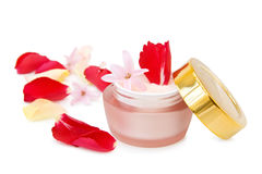 Natural face cream with roses Stock Photography