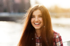 Natural face portrait of a beautiful young woman Stock Photo