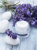 Natural facial cream with lavender Royalty Free Stock Image