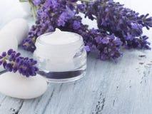 Natural facial cream with lavender Royalty Free Stock Photos