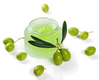 Natural facial cream with olives Stock Photo