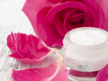 Natural facial cream with roses Royalty Free Stock Photography