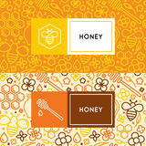Natural and farm honey packaging. Vector logo and packaging design templates in trendy linear style - natural and farm honey packaging - labels and tags with vector illustration