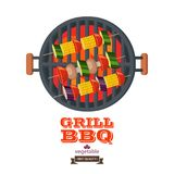 Barbecue, grill. Emblem, logo. Colorful vector illustration in f. Natural farm products. Grille vegetarian kebabs on skewers. Corn, mushrooms, zucchini, eggplant Royalty Free Stock Images