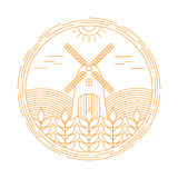 Natural Farm vector logo design template. Agriculture emblem stock illustration