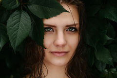 Natural female beauty in summer rain. Outdoors Royalty Free Stock Images