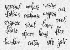 Natural fibers types lettering set. Sewing studio calligraphy graphic design typography element. Hand written calligraphy signs. Cute simple . Organic Fabrics stock illustration