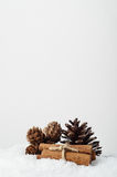 Natural Fir Cones and Cinnamon Sticks on Artificial Snow. Natural Christmas decorations. Fir cones and cinnamon stick bundle on artificial snow with copy space Stock Photo