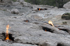 Natural fire on Mount Chimera Royalty Free Stock Photography