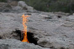 Natural fire on Mount Chimera Royalty Free Stock Image