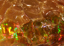 Natural fire play-of-colour opal. Bright natural stone caboshone with red green opalescence play-of-colour nnEthiopian opal n royalty free stock photo
