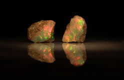 Natural fire play-of-colour opal Welo Stock Photo