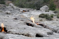 Natural fire between rock - Chimera Mount Stock Photos