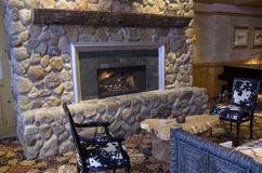 natural fireplace stock photo