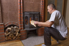 Natural fireplace in house. Stock Images